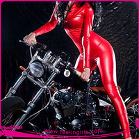 Good Quality Accepted OEM Sexy Red Faux Leather Catsuit