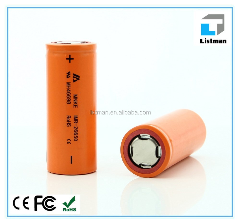 Big Capacity Wholesale High quality Original IMR MNKE 26650 3800mAH high drain battery ,for electronic cigarette