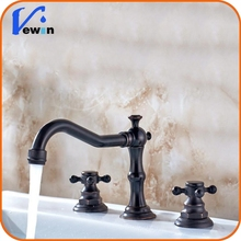 "Hot Sale Bathroom 3 Holes Bronze 8"" Widespread Oil Rubbed Basin Faucet"