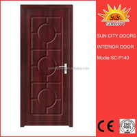 PVC Wooden Double Panels Doors with Glass Partition SC-P140