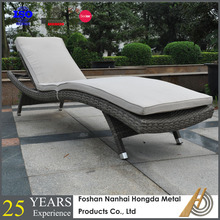 Beach PE rattan chaise lounge with SGS
