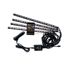 Music Sound Active Car Interior RGB LED Strip Light 4PCS DC12V Auto Atmosphere Light/Underdash Lighting Strip Kit