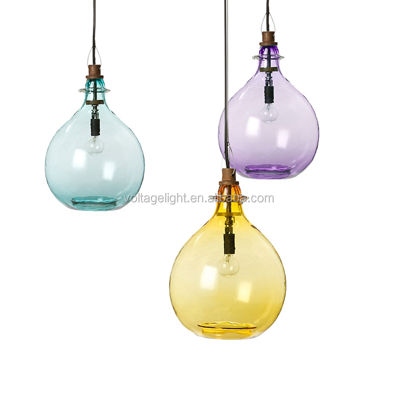 Amercian Style Modern Glass Pendant Light Glass Jug Purple