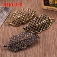 Newest style leaf shape unique alloy crystal hair clips accessories