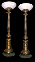 4714 Pair of Antique Bronze Torcheres with Alabaster Shades & Marble Base c.1890