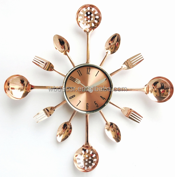 Cutlery Kitchen Wall Clock Fork & Spoon Decorative Wall Clock Creative Clock, Gold