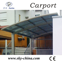 Durable Aluminum Metal Type and Powder Coated Frame Finishing Aluminum Carport with polycarbonate PC Panels for car shed
