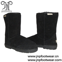 Half calf genuine leather sheepskin lined women snow boots