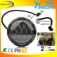 "7"" round led headlight for jeep wrangler led headlights assembly, 7 inch round led headlight 12v 24v, high low beam headlight"