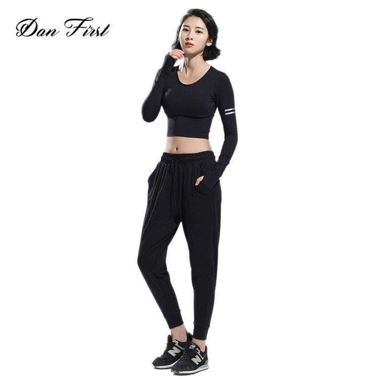 Fashion No Rims Crop Dancing Performance Ladies 2 Piece Yoga Suit