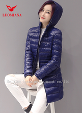 2017 European style long blue color woman light down filled jacket