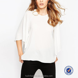 cheap patterns woven white casual t-shirt with kimono sleeve