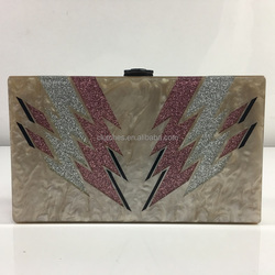 HH-AC83382 Customized Perspex/Lucite/Plexiglass Glitter Flash Pattern Pearl Acrylic Clutch Handbags Box Clutches
