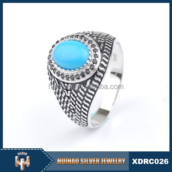 classic engraved turquoise stone black cz 925 silver ring men