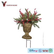 Metal Decorative christmas garden stake artificial mistletoe