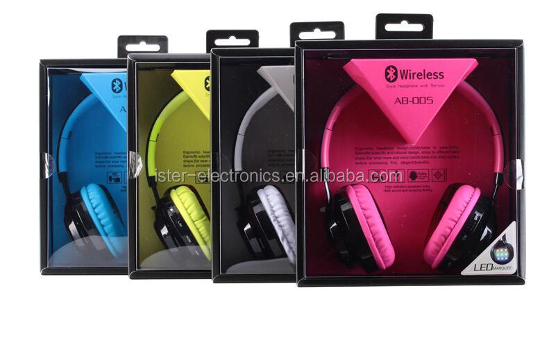 Hands free foldable wireless headphone bluetooth with led light AB005 for fone de ouvido bluetooth