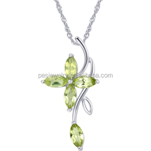 PES fashion jewelry! Natural Leaf Four Clover Olive CZ Necklaces Pendants (PES3-1485)