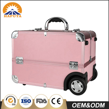 Pink locked aluminum trolley makeup case with 6 trays