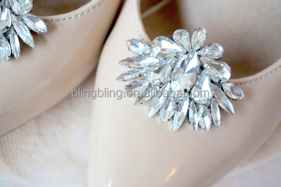 Vintage Glass Stone Crystal Silver Tone Wedding Bridal Shoe Clips