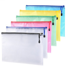 A4 size mesh document bag zip file bag with zipper for cosmetics offices supplies travel accessories