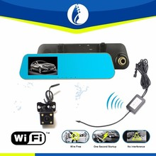 "user manual fhd 1080p car camera dvr video recorder Dual Lens Car DVR 4. 3"" LCD G-sensor Car Camera Rearview Mirror"