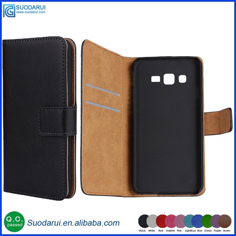 Book style Stand Wallet Flip PU Leather mobile phone Case for Samsung Galaxy J2 Prime 5.0'' Pouch Plain / Lichee pattern