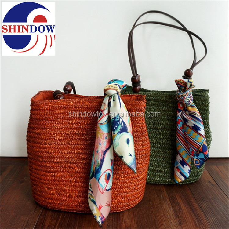 Customized color Korean fashion straw beach bag for summer