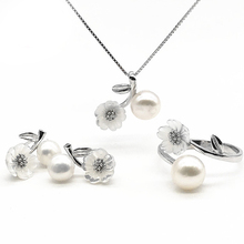 Fashion beautiful flower costume jewelry setting 925 silver pearl african Jewelry Sets mounting for women