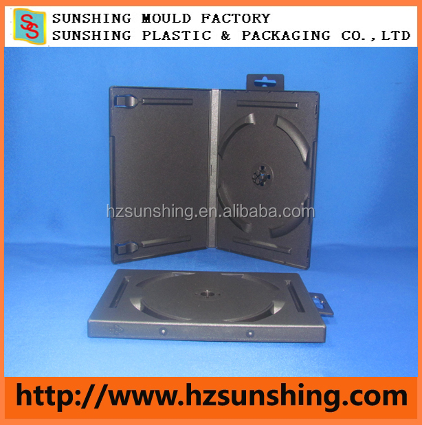 Hot selling PP plastic black 14mm stackable DVD case