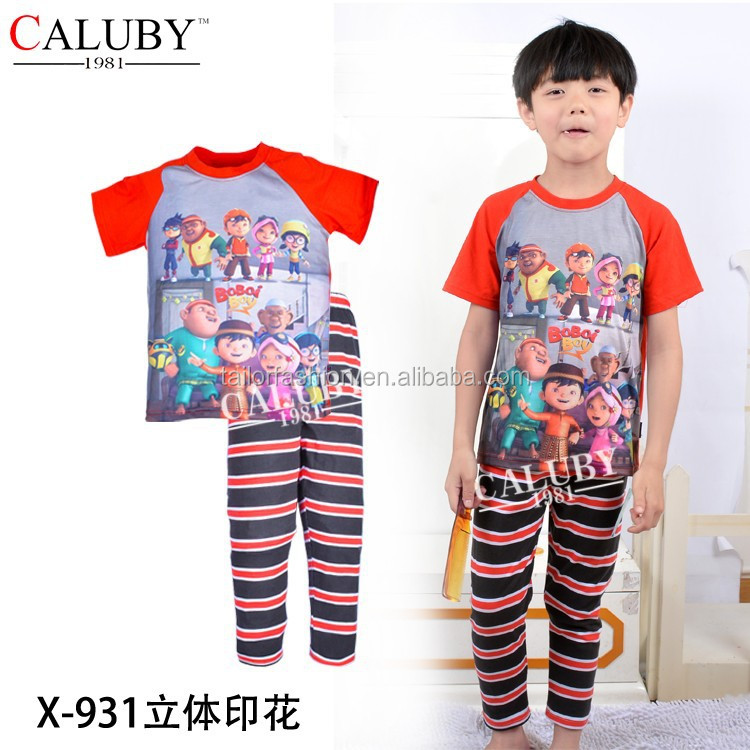 2016 max hot sale boy boboiboy pajamas wholesale children oggy pyjamas upin&lpin sleepwear for boys