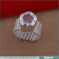 China Direct Sale Simpel Flower Design Sample Accepted Silver Mesh Ring