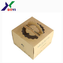2018 Eco-friendly bakery wedding cardboard custom birthday kraft paper cake box with handle