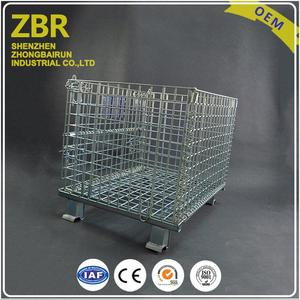 Advanced Processing Collapsible Metal Baskets Mesh Storage Rack Wire Pallet Cage