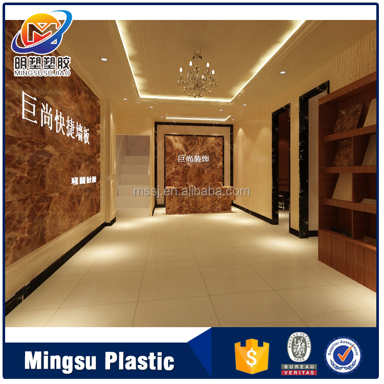 Artistic and woo and marble decoration pvc ceiling design for shop