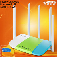 2016 New 2.4Ghz 300Mpbs BCM5357 wireless wifi router with 2 SSID more than 20 clients and 5pcs 5 Dbi high gain antenna