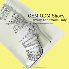 OEM bling bling high heel eneglant sexy high heel sandals boot rivet and crystal sandal boot for show