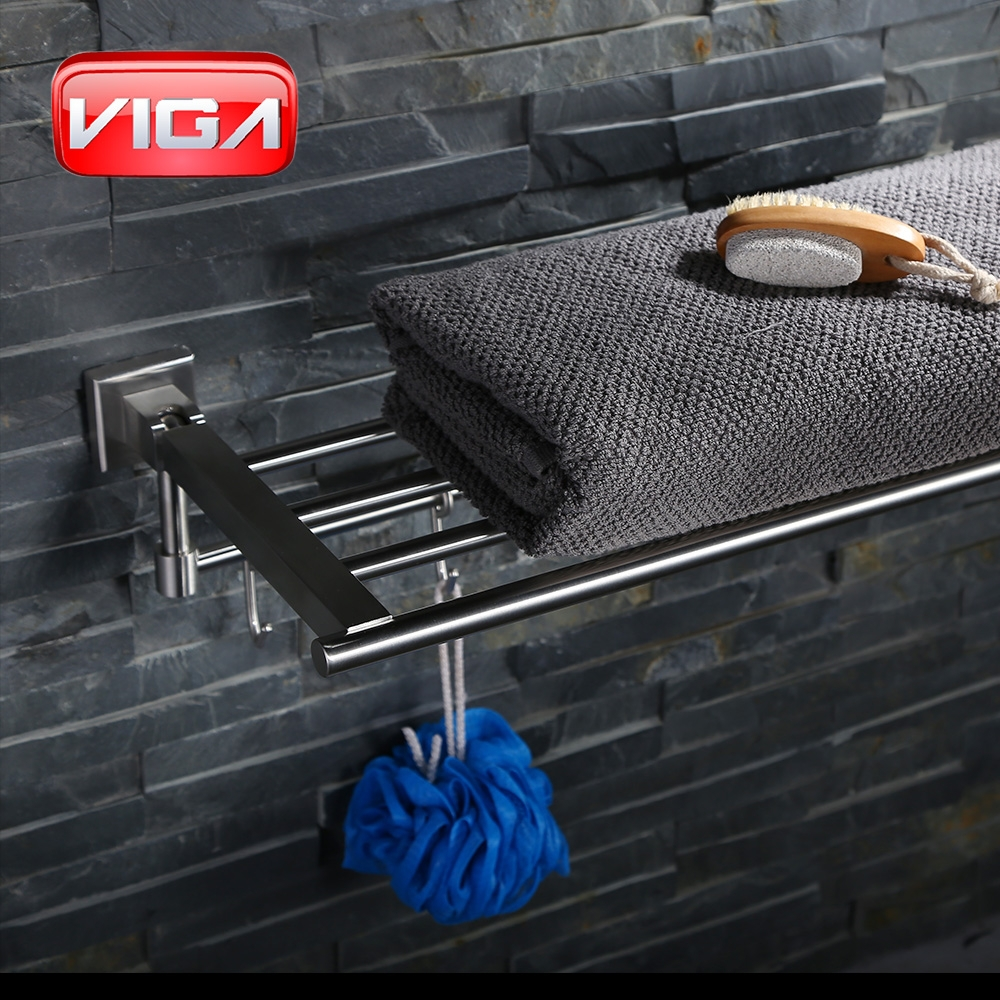 Stainless steel Bathroom Towel Bar with Hooks
