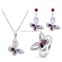 Nigeria High Quality Fashion Jewelry Bisuteria,White Gold Plated with aaa Cubic Zirconia Jewelry Set