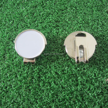 Magnetic golf cap clip with blank golf ball marker