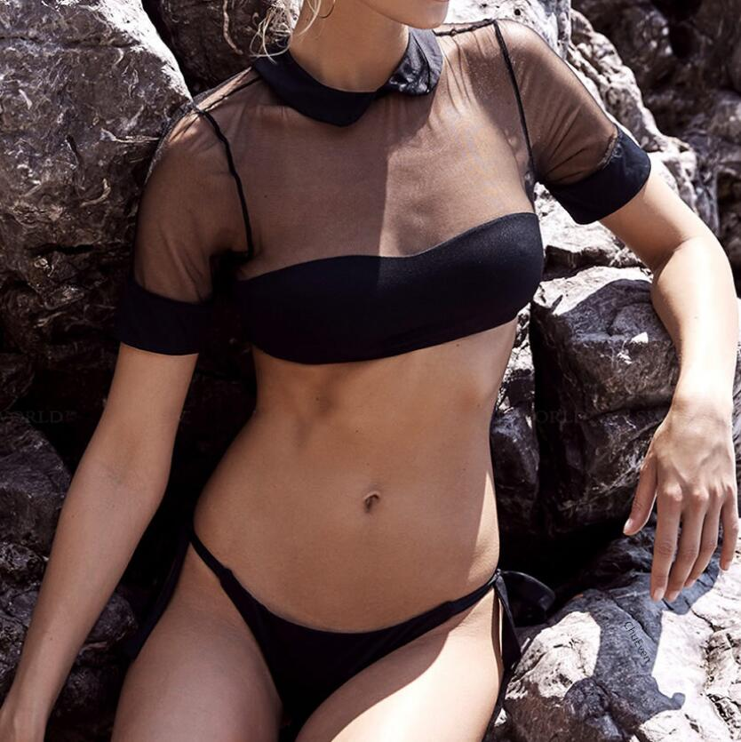 2019 Custom Women Bikini Sexy Throng Bottom Transparent Solid Color Two Piece Swimsuit