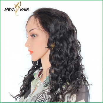 Factory best selling productions new design human hair natural deep wave full lace wig for braiding