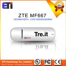 ZTE MF667 unlocked USB Modem 3G WCDMA/HSPA+ 2100/1900/900/850MHz 21.6Mbps HSPA ZTE MF667 Internet Key Dongle