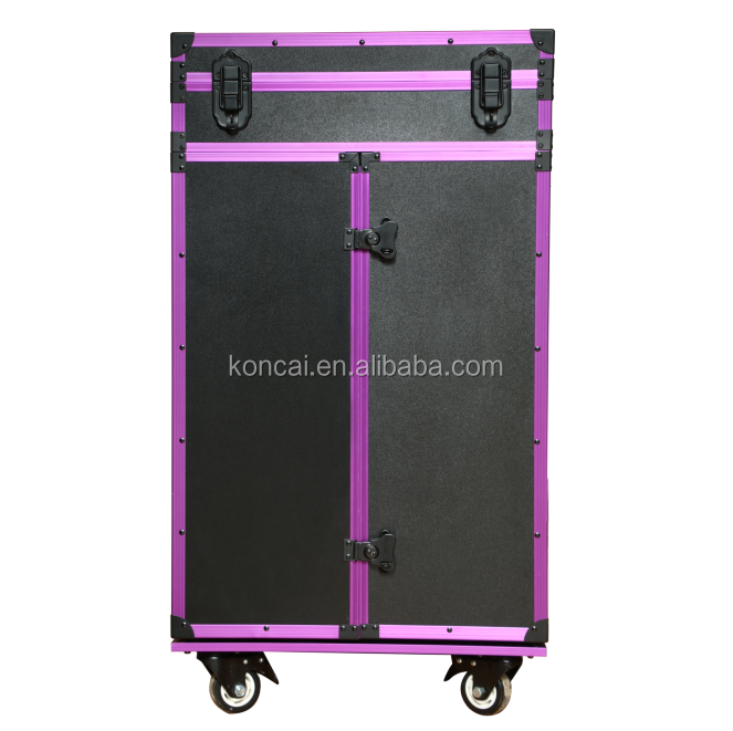 Trolley With Button 4 Drawers Acrylic Cover Top Four Extension Tray 6 Bulbs Lights Big Size Makeup Station