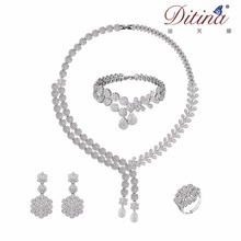 Arabic fashion women wedding marriage solid silver plated jodha akbar diamond bridal factory costume 4 piece jewelry set