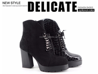 2016 New design women black shoes rubber Outsole boots mature sexy women high heels boots