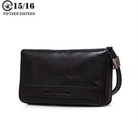 Men's wallet leather wallet tide zipper sheepskin wrist purse with large capacity