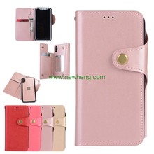 Leather Card Slot Makeup Mirror Phone Case for iPhone X