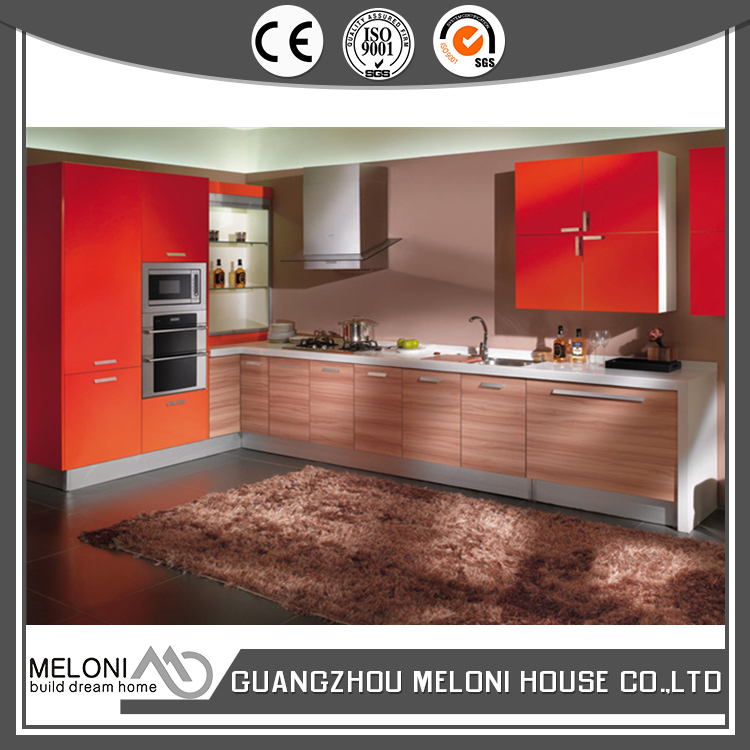 Customized red and wooden grain small melamine kitchen design