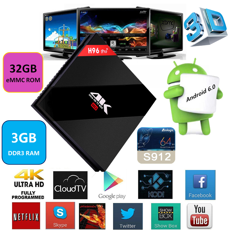 H96 Pro+ Amlogic S912 Octa Core Android 6.0 Kodi 17.0 bluetooth 4.1 wholesale android smart tv set top box