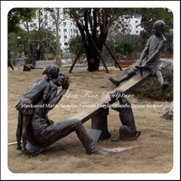 Garden Children Playing Bronze Seesaw Sculpture